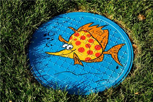 井盖上系统绘制了,以《海底总动员》为主题的可爱的海洋生物卡通形象