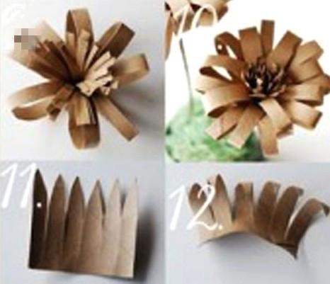 创意 饰品/用牛皮纸手工DIY制作的创意假花饰品(4)