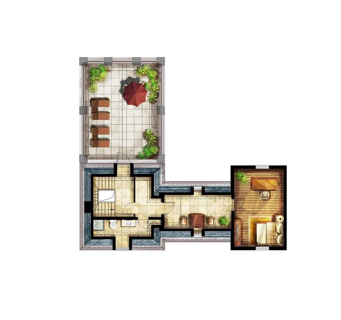 波尔多住宅手绘效果图