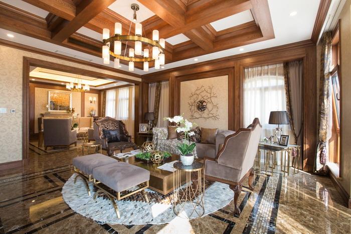 别墅样板间实景-美式-客厅